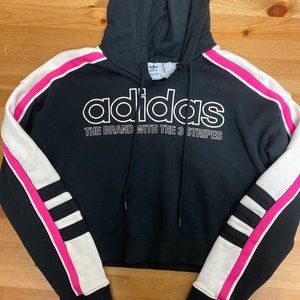 Adidas Cropped Hooded Sweatshirt with Spellout